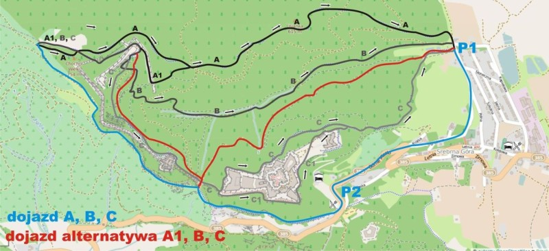 Aktualna mapka tras z zaznaczonymi parkingami i dwoma wariantami dojazdówki