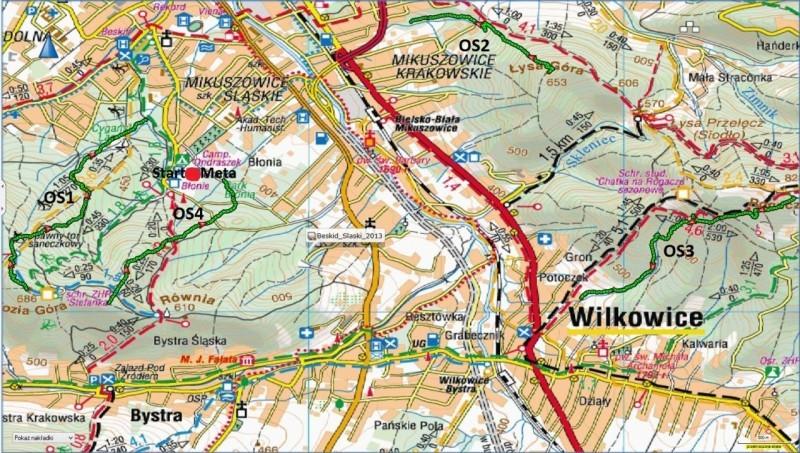 Zawody Enduro Trails Bielsko - mapa trasy maj