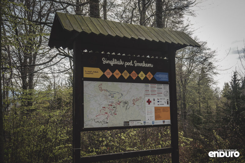 Singltrek pod Smrkem - mapa tablica