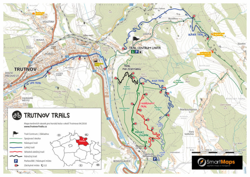 Trutnov Trails - mapa tras 2016