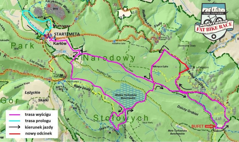 Mapa trasy Fat Bike Race Góry Stołowe 2017
