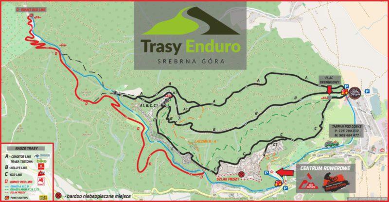 Trasy Enduro Srebrna Góra - mapa ścieżek
