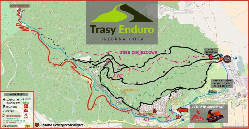 Polskie singletracki 2017-2018: Trasy Enduro Srebrna Góra mapa tras 2017