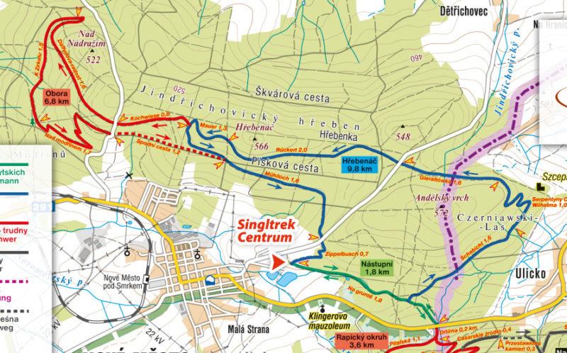 Singltrek pod Smrkem - mapa łatwe trasy
