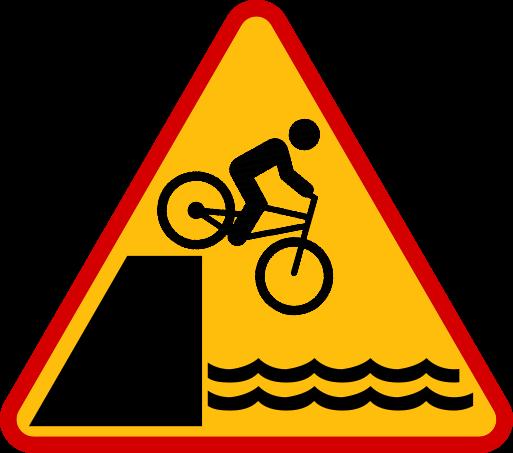 Znak drogowy ostrzegawczy - rowerzysta woda