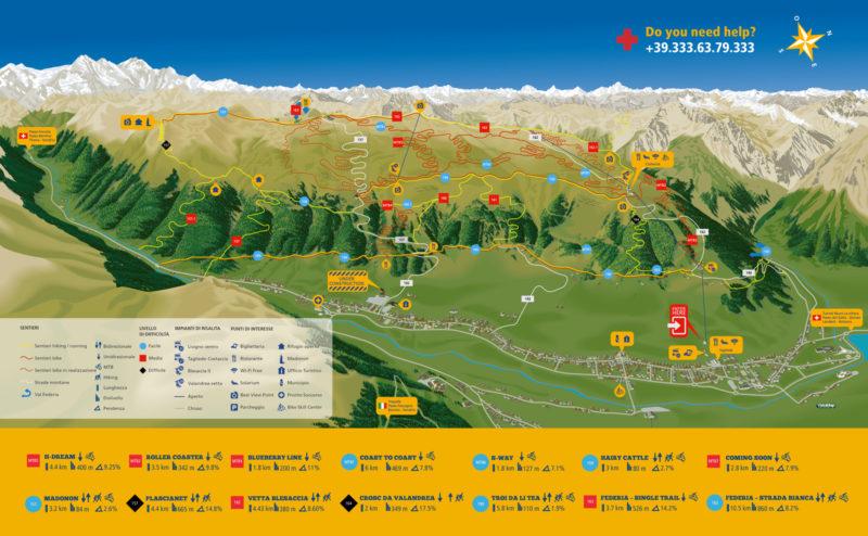 Bikepark Carosello 3000 - mapa tras MTB