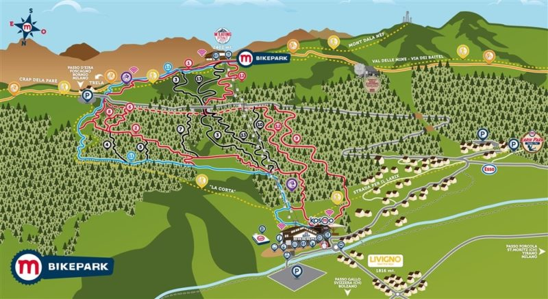 Mapa tras Bikepark Mottolino Livigno