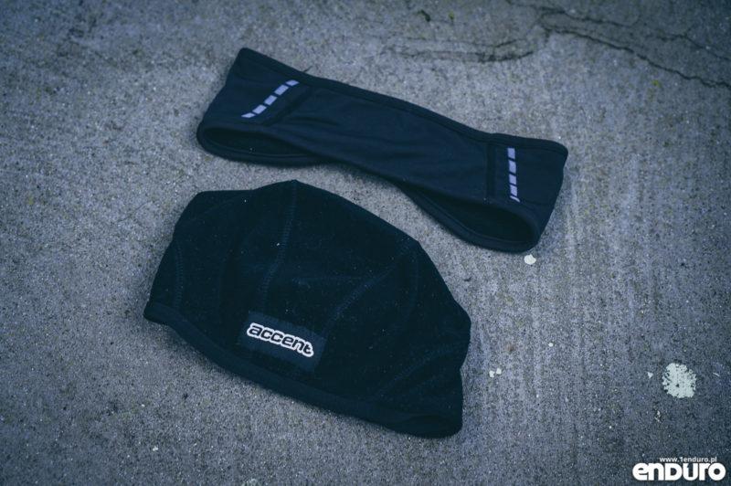 Ubrania rowerowe jesień zima - czapeczka pod kask opaska na uszy