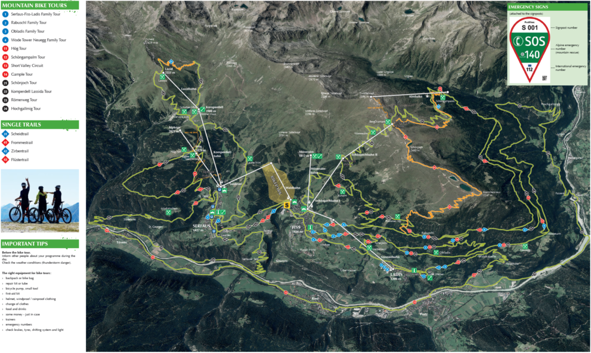 Serfaus-Fiss-Ladis Single Trail MTB map