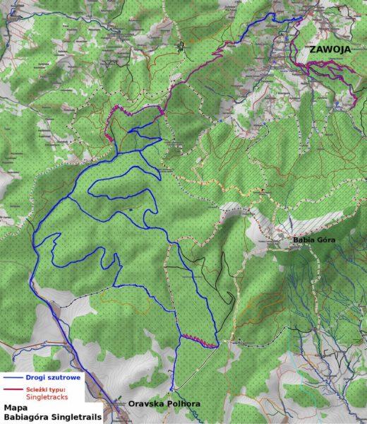 Babia Góra Trails - mapa tras po słowackiej stronie