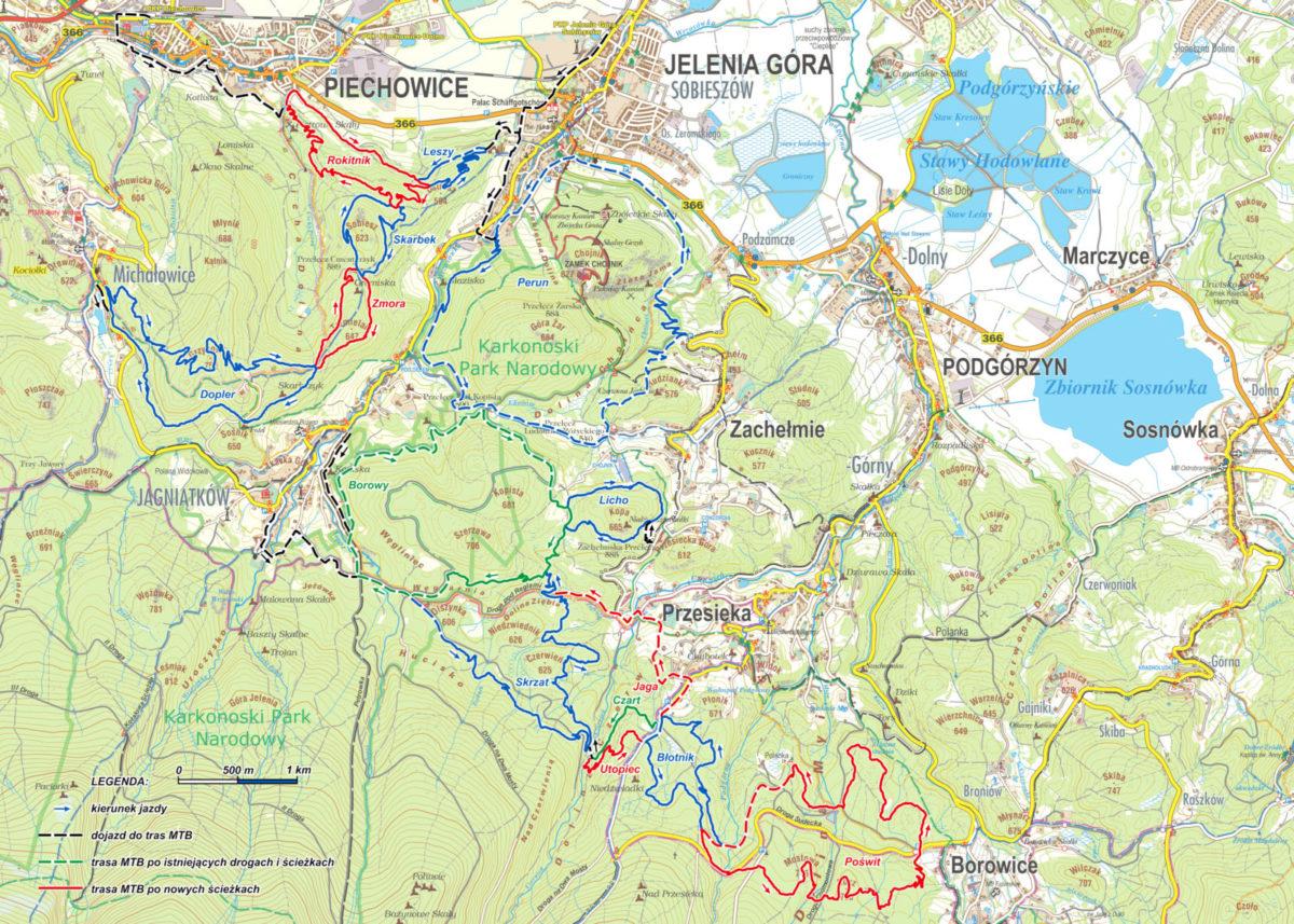 Pasmo Rowerowe Olbrzymy - mapa tras