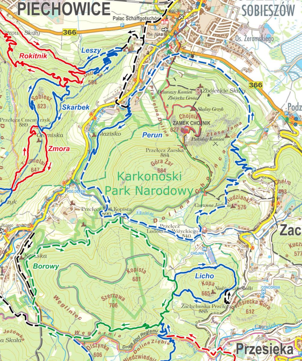 Pasmo Rowerowe Olbrzymy - mapa tras szutrowych