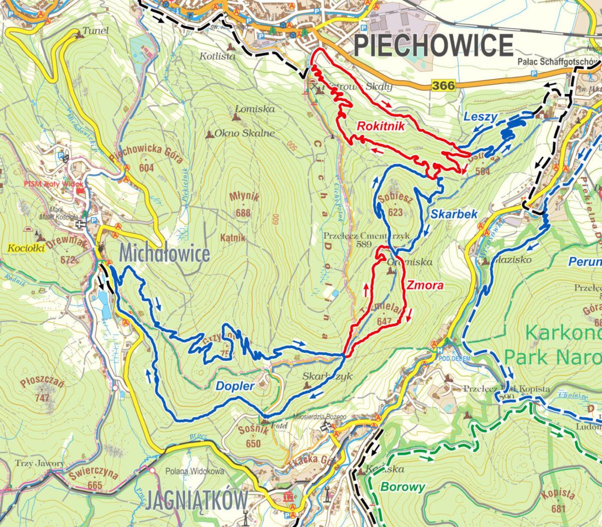 Pasmo Rowerowe Olbrzymy - mapa pętla Piechowice - Michałowice