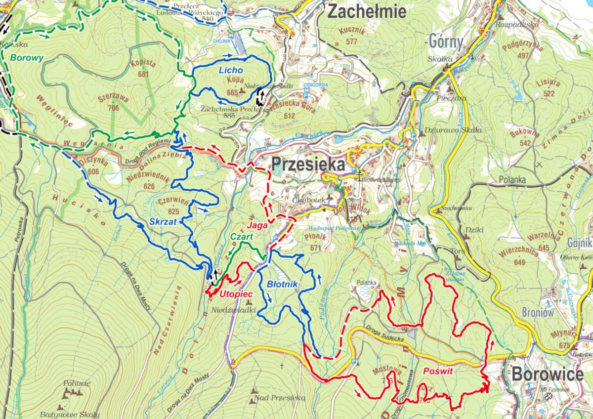 Pasmo Rowerowe Olbrzymy - mapa pętla Przesieka