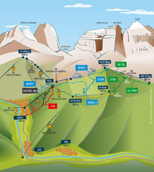 Fassa Bikepark - mapa tras